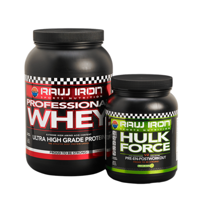 RAW IRON® Professional Whey & Hulk Force Combi Pack