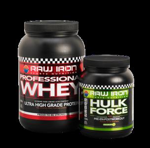 RAW IRON® Professional Whey & Hulk Force
